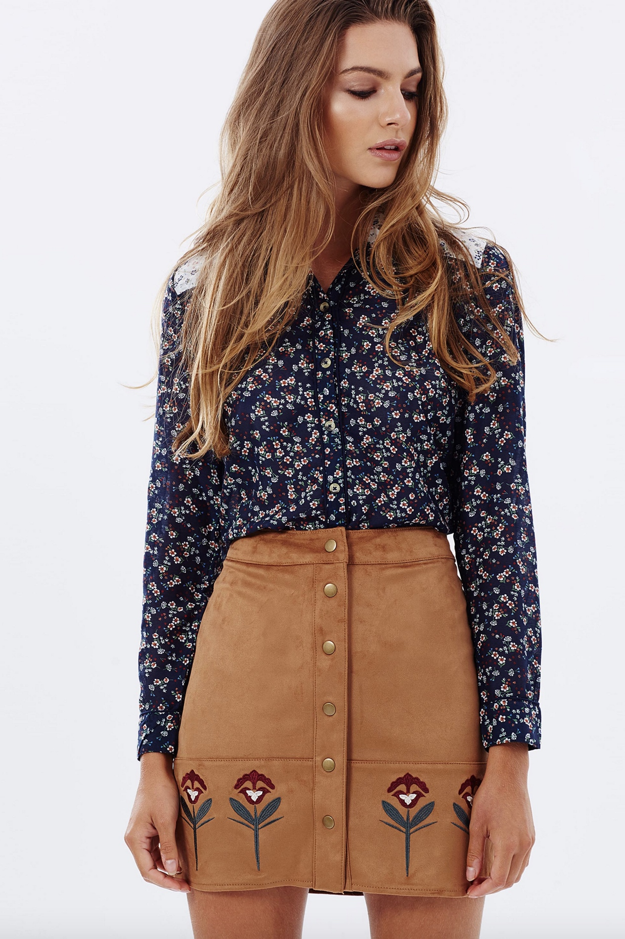 Dorothy Perkins embroidered suede skirt $69.95