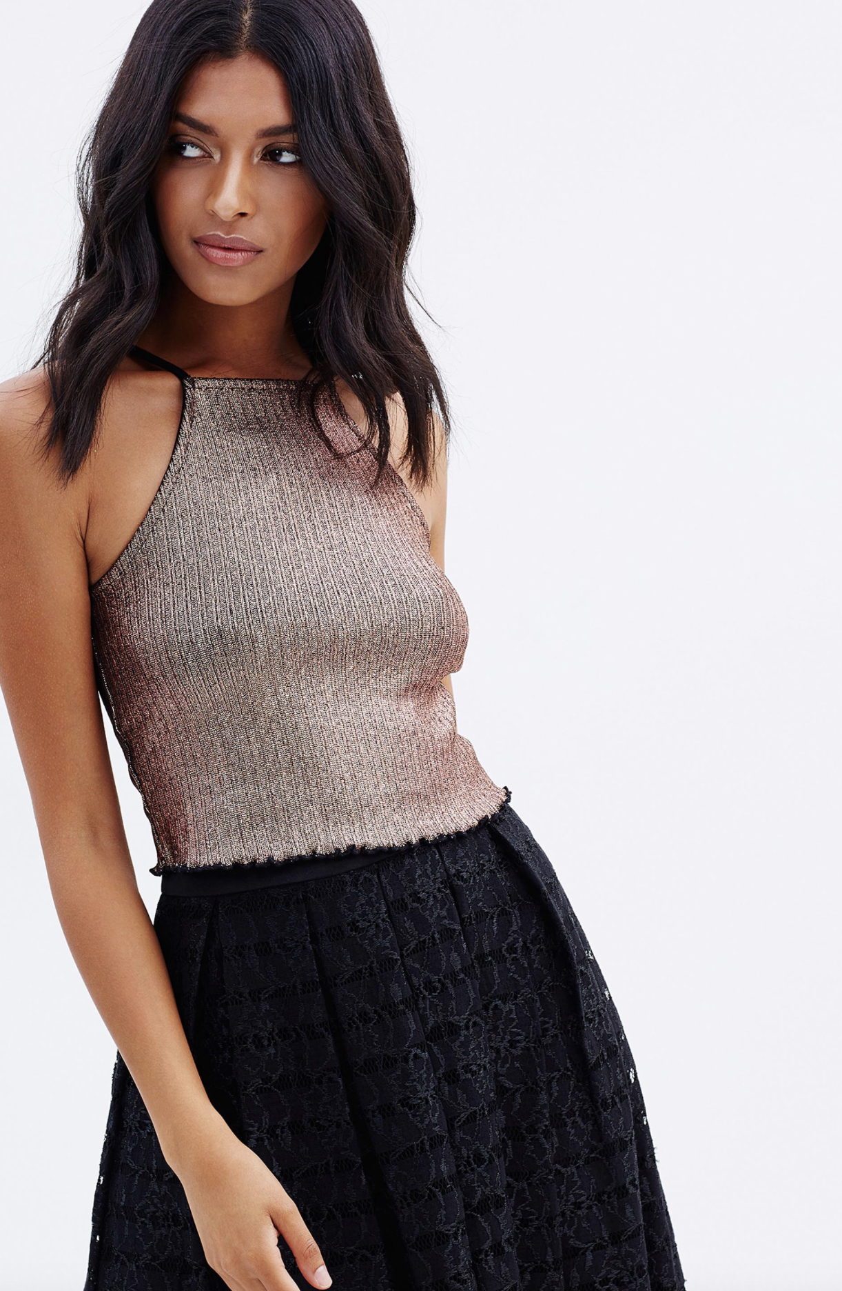 Mioss Selfridge metallic rib crop $39.95