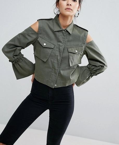 Asos cropped jacket with cold shoulder $63