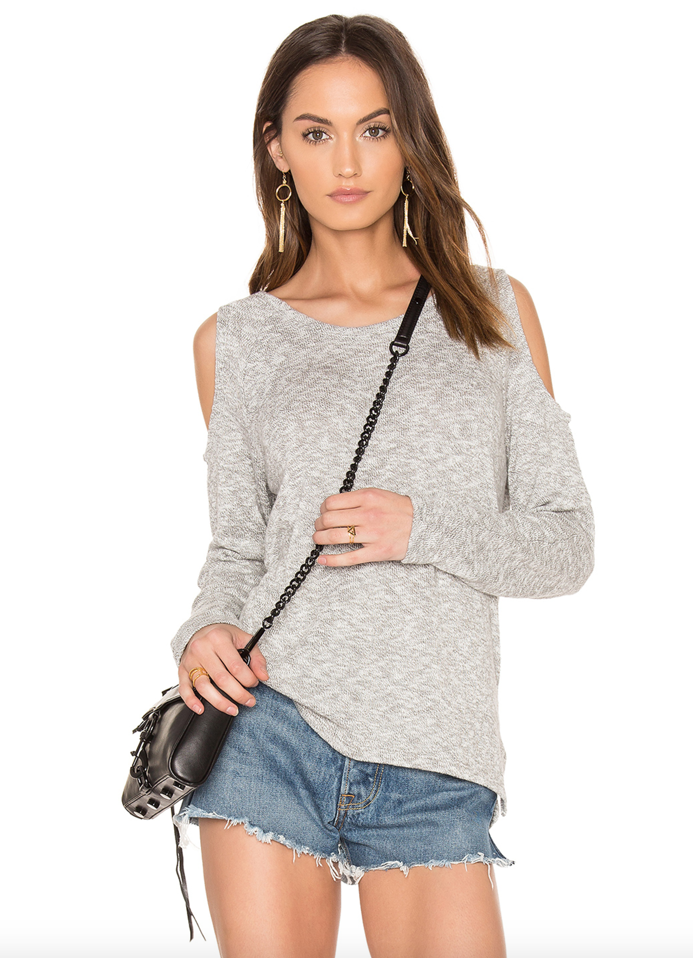 Bobi marled knit cold shoulder $85.35