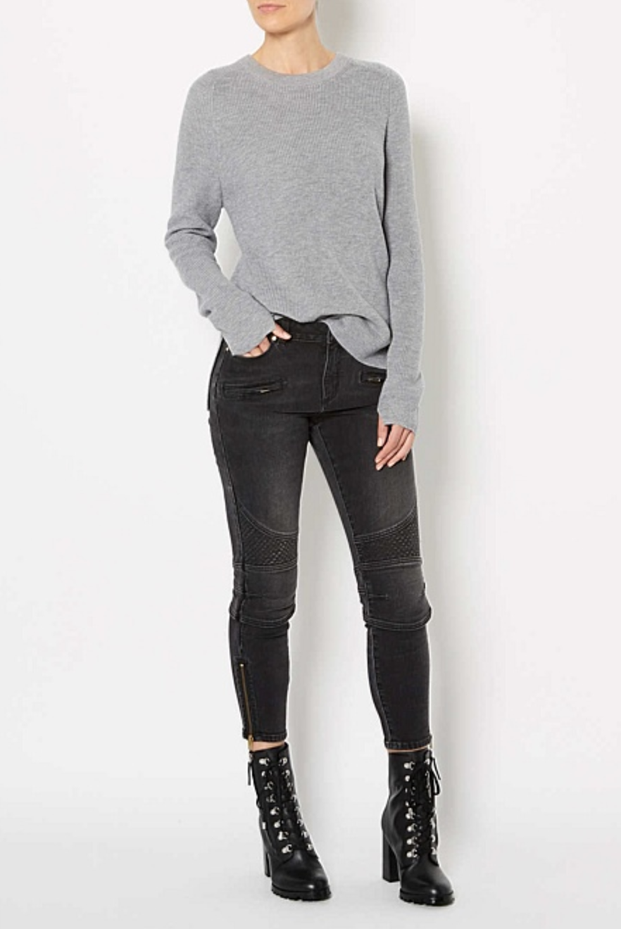 Witchery washed black biker jeans $149.95