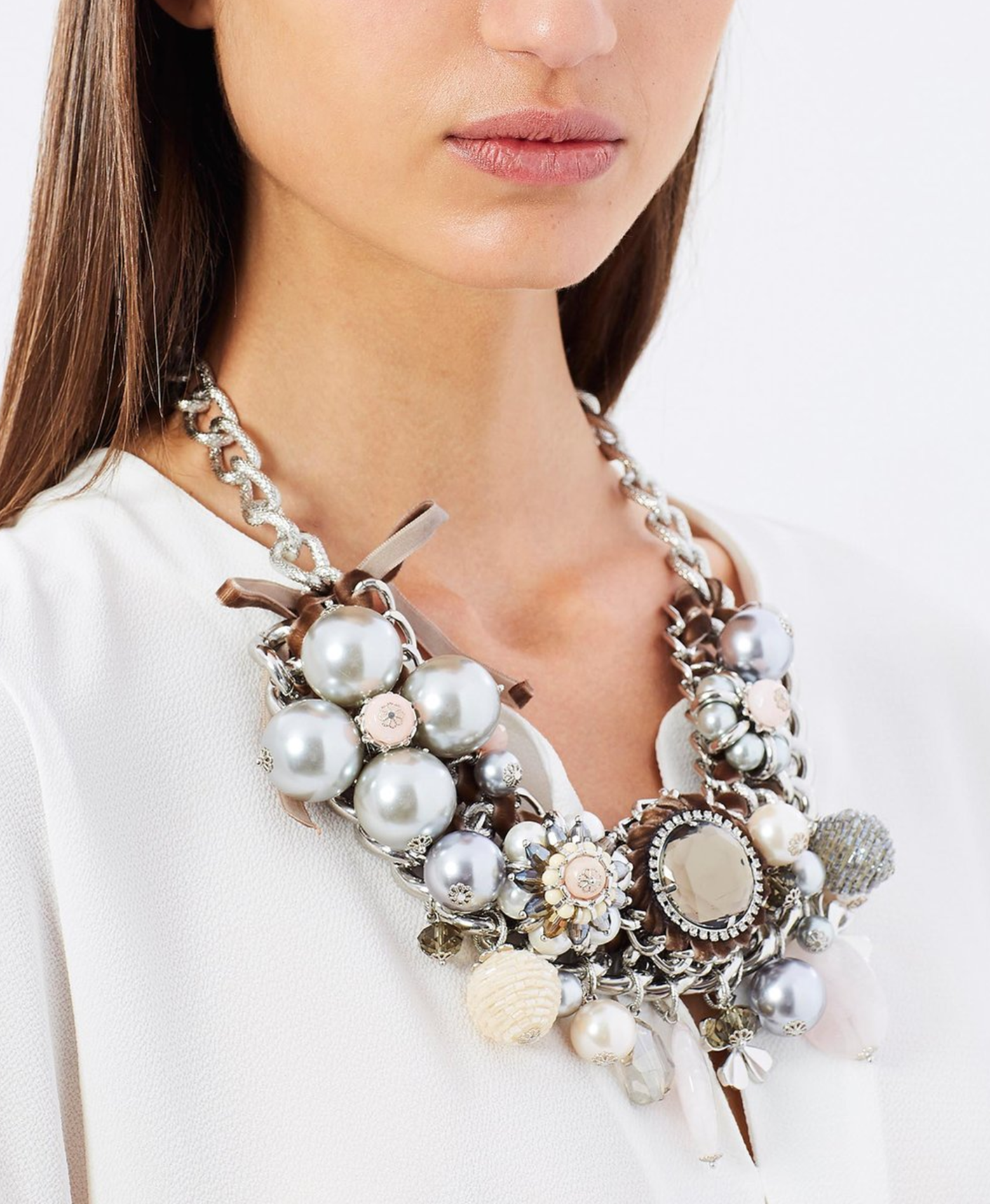 Izoa pearl and jewel statement necklace $129