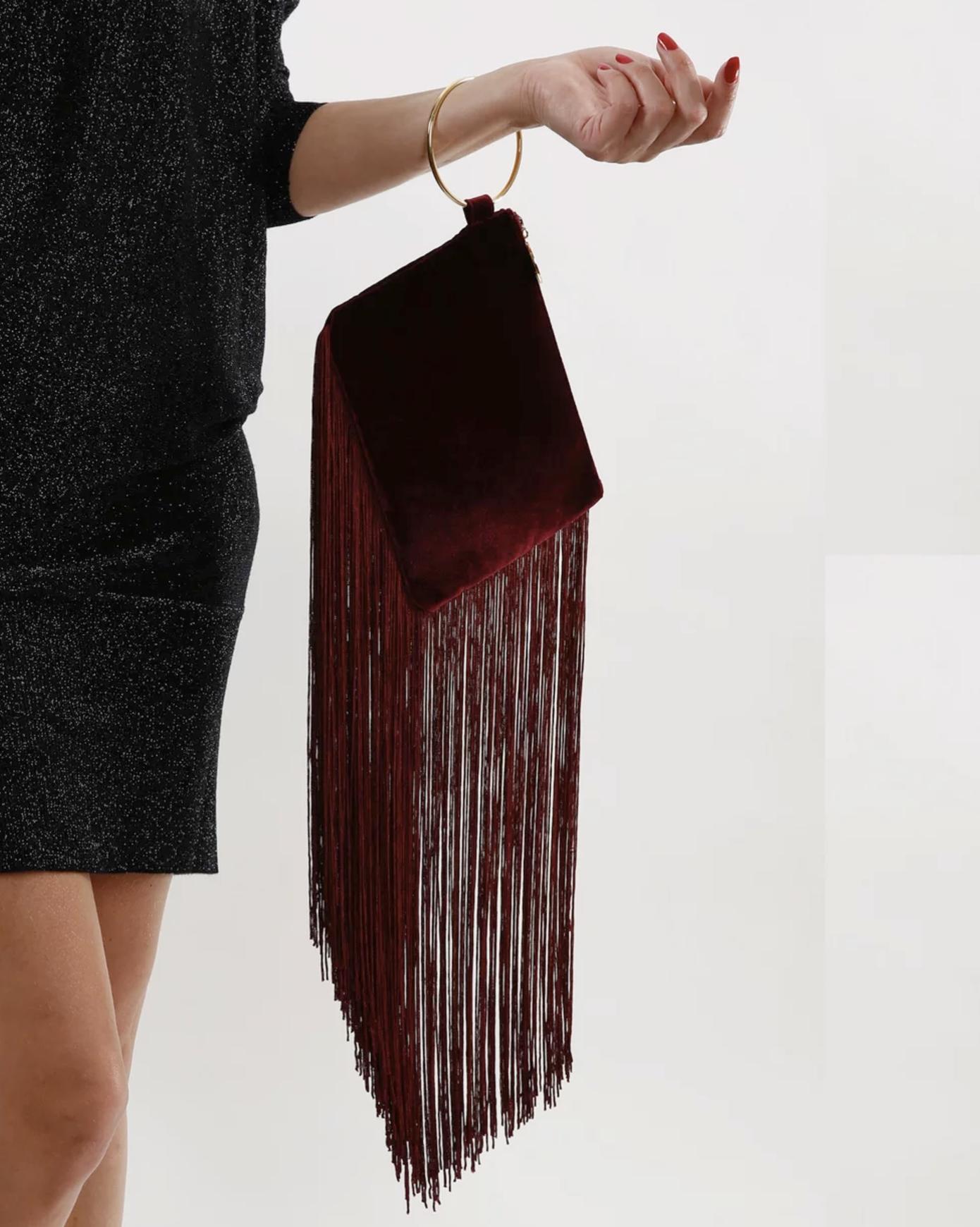 Farrah & Sloane Cecile velvet & fringe bag $169