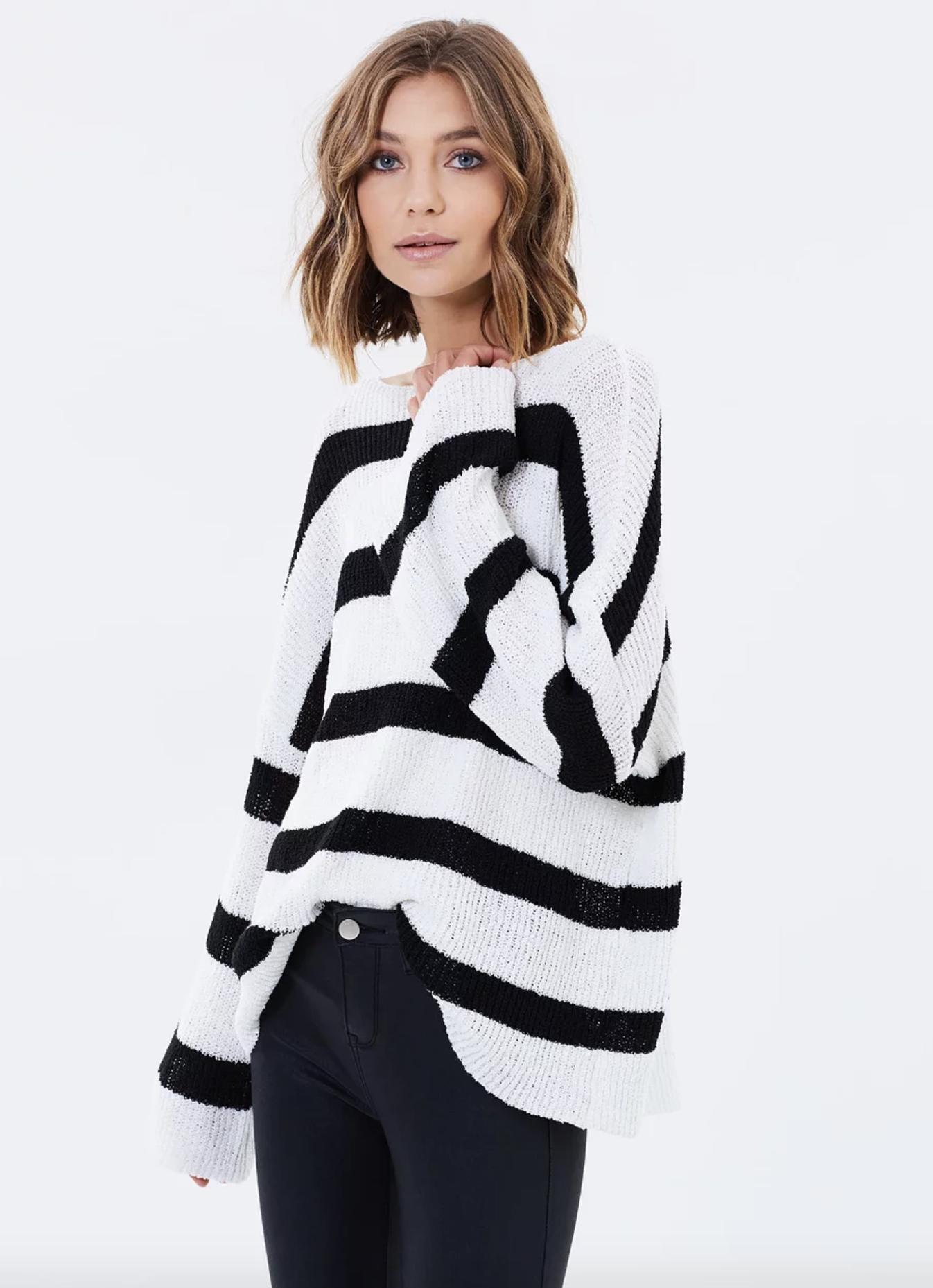 Atmos & Here effortless wide neck knit top $69.95