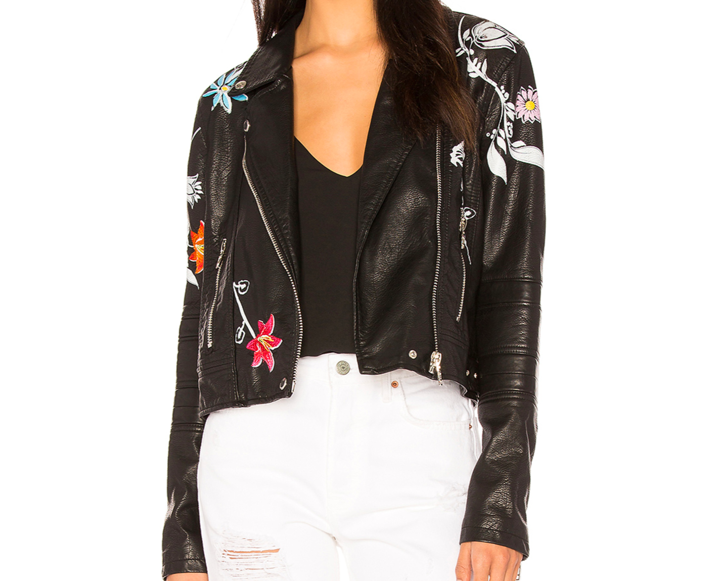 Blank NYC embroidered faux leather jacket