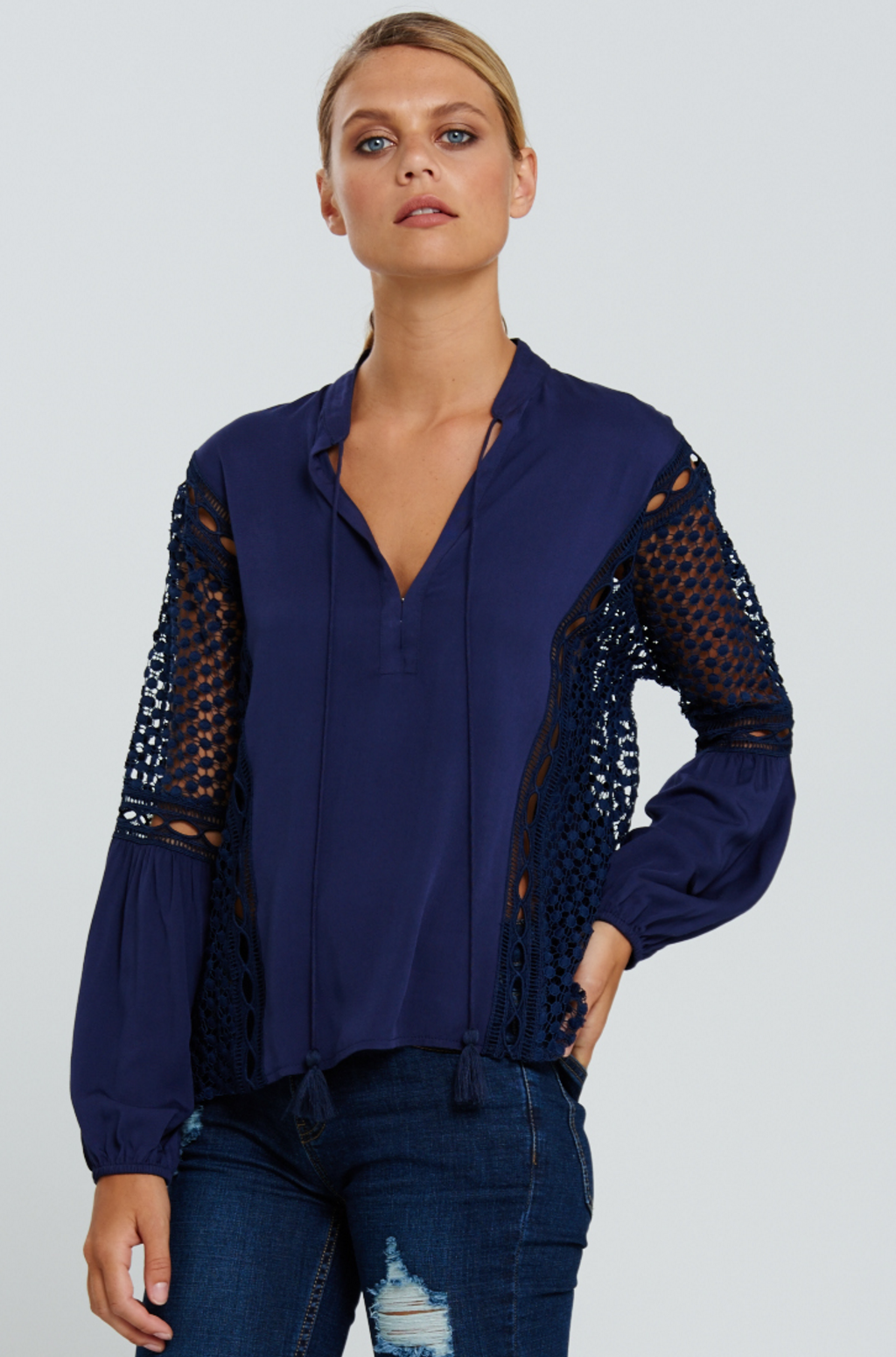 Bohemian Traders navy tulip blouse $159