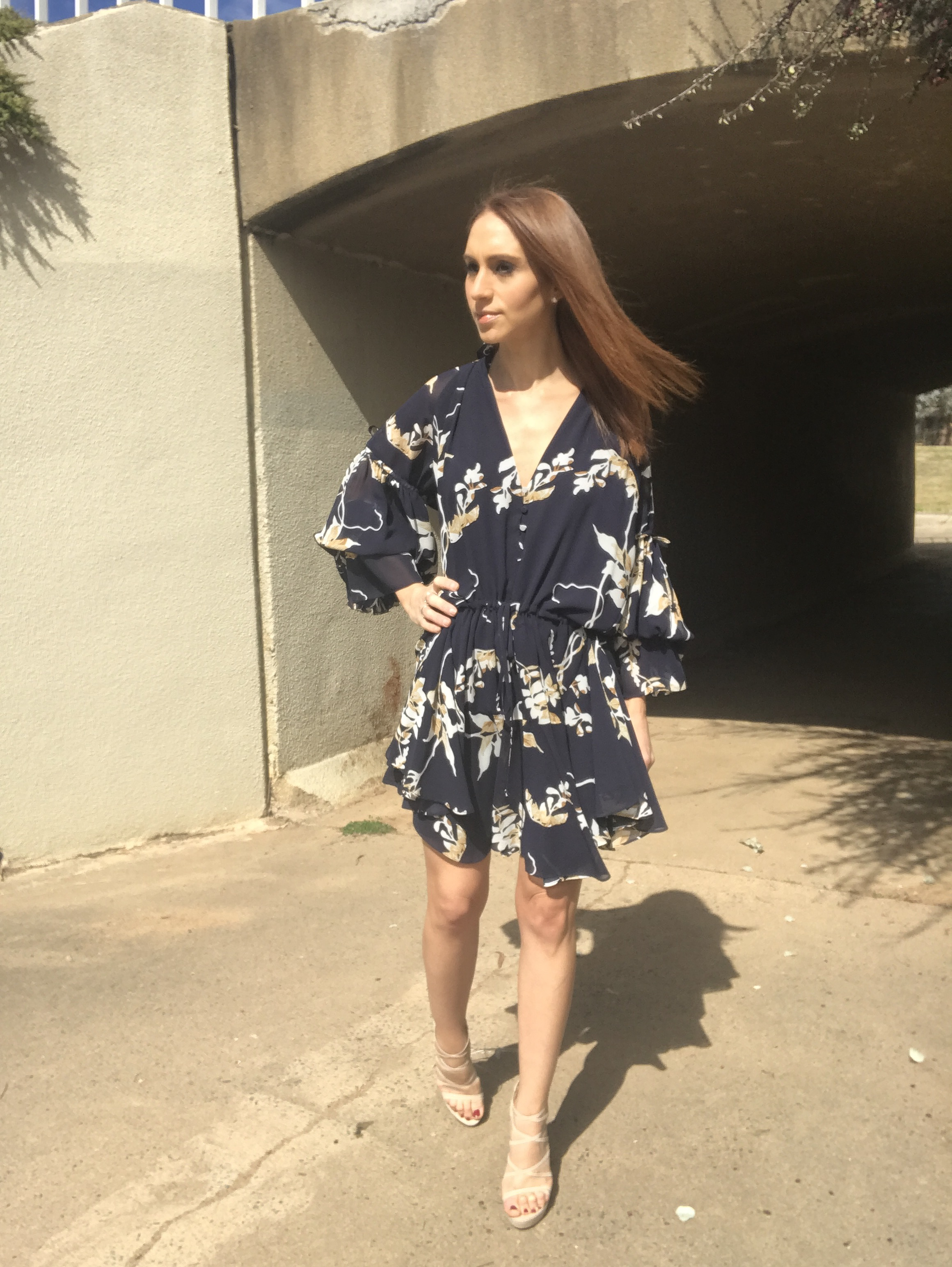 Shona Joy curacao tie sleeve mini dress