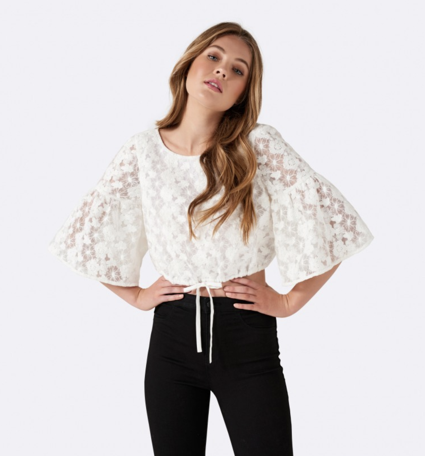 Forever New Delta drawstring flare sleeve blouse