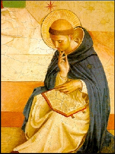 St. Dominic from Fra Angelico,  Mocking of Christ Painting Detail