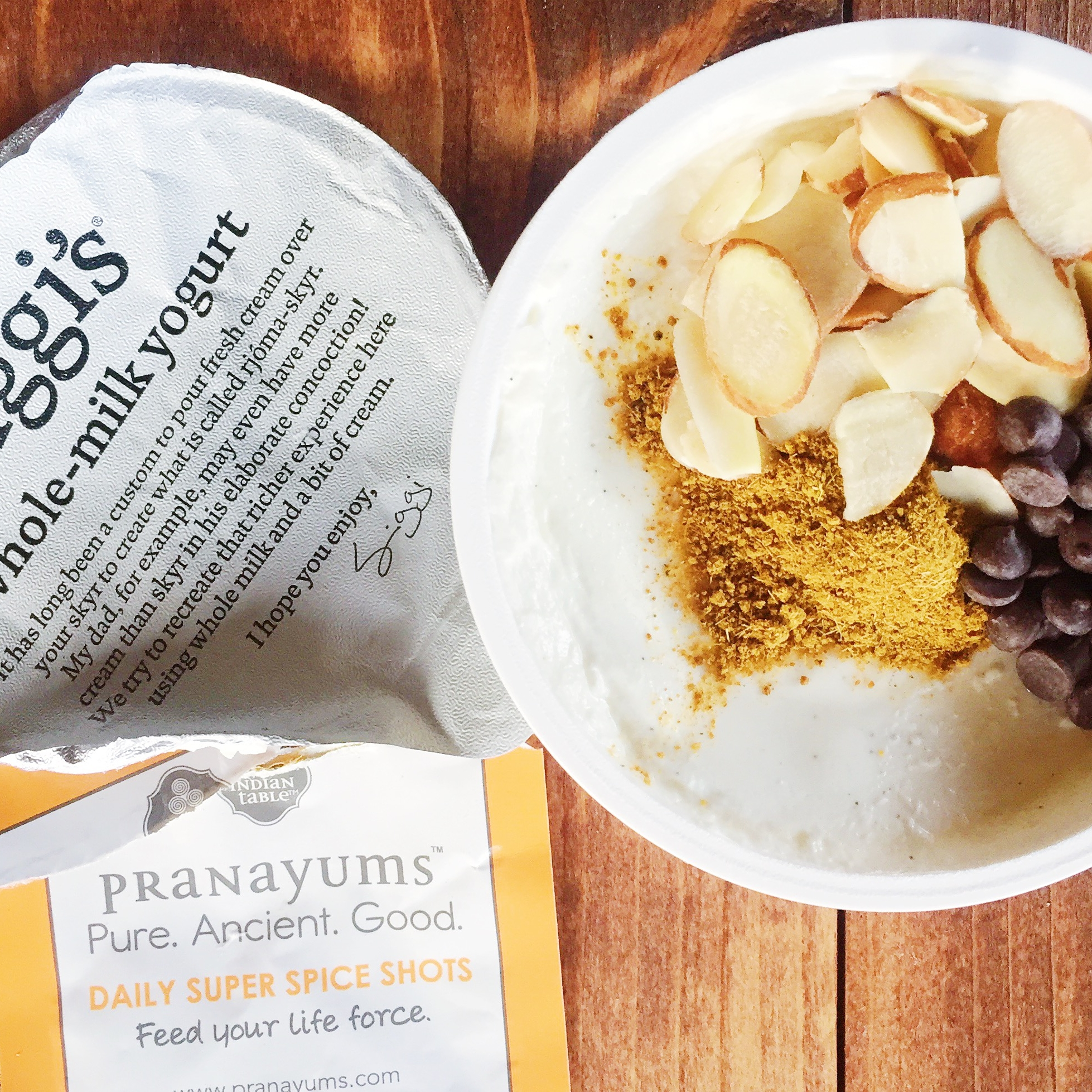 Pranayums goes great with yogurt, nuts, and chocolate chips, for the perfect sweet & spicy parfait.