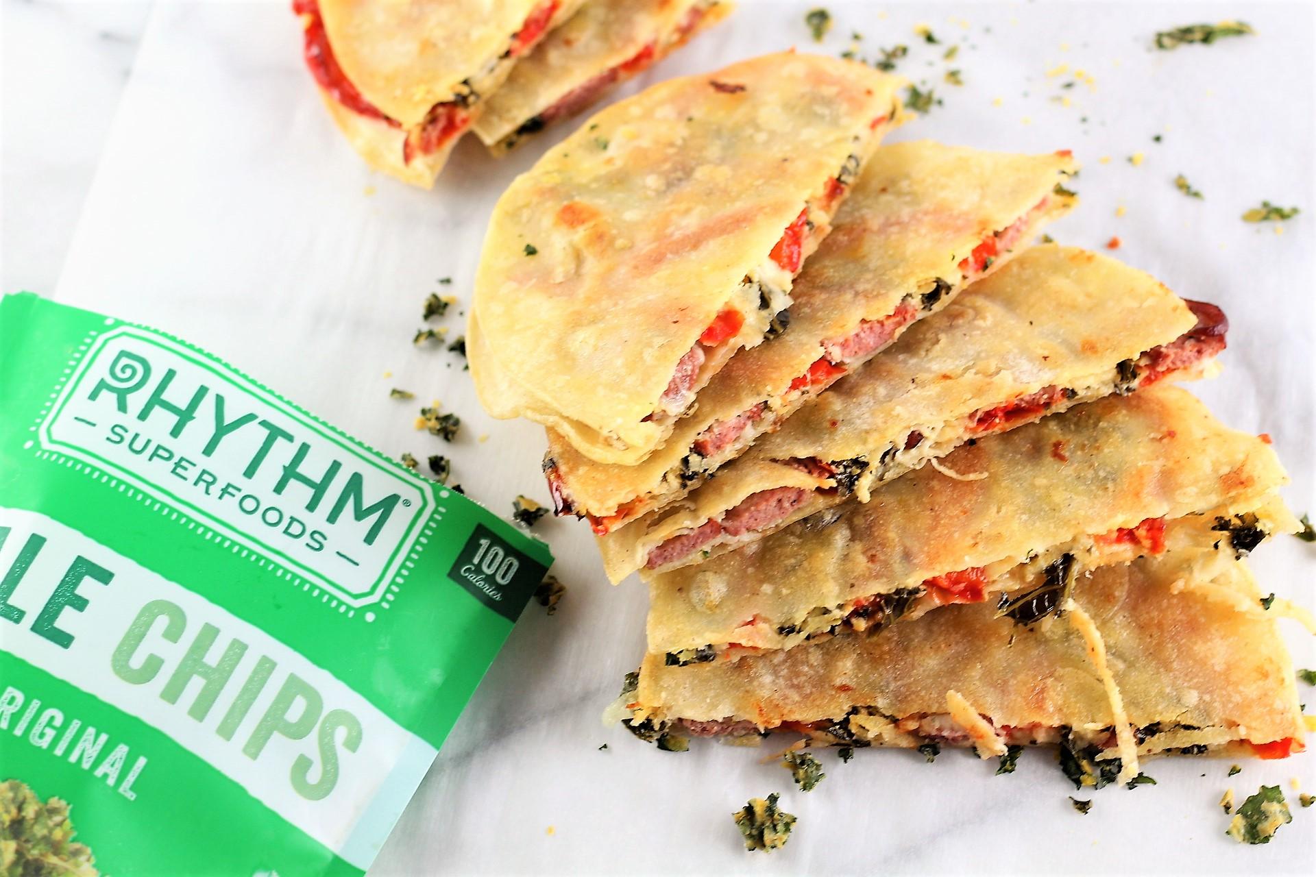 red pepper kale sausage quesadillas
