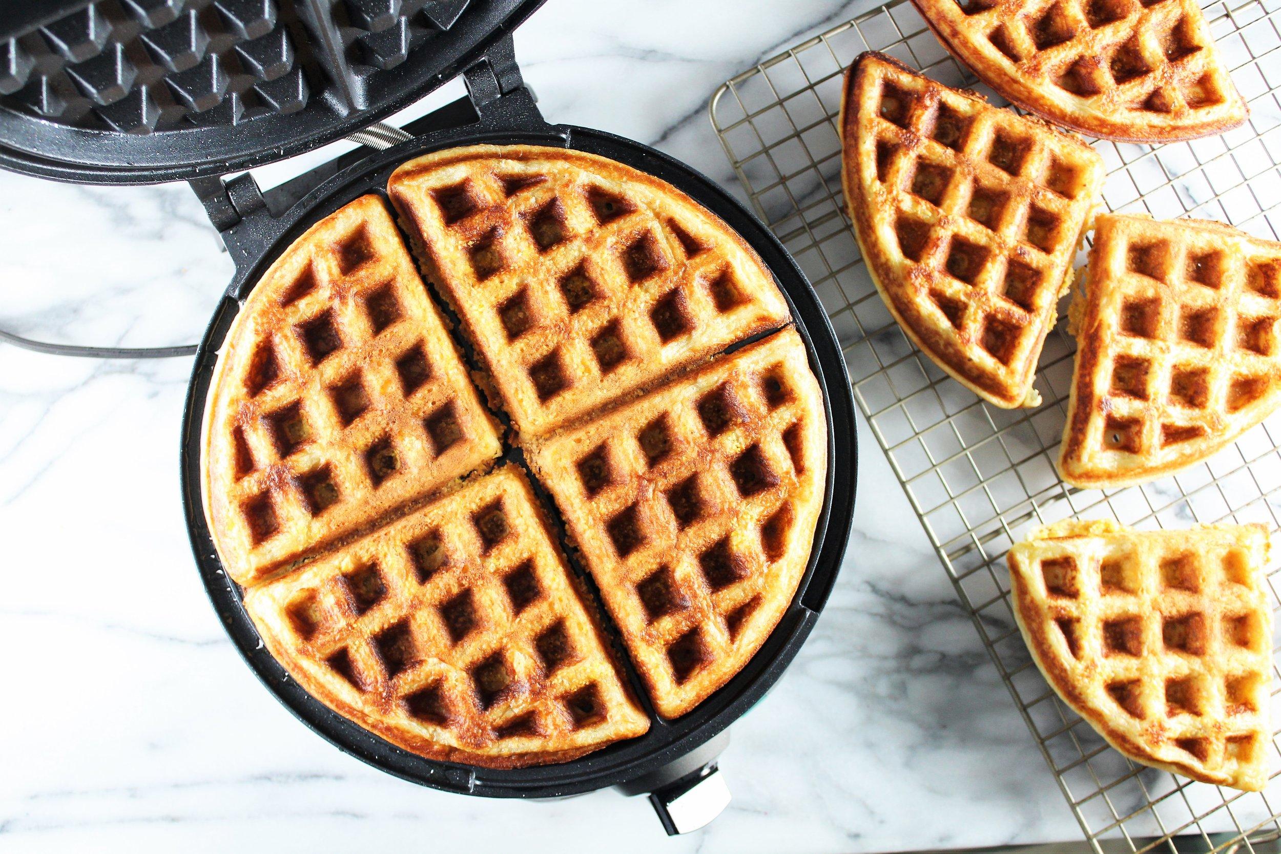 maple cornbread waffle blt sandwiches