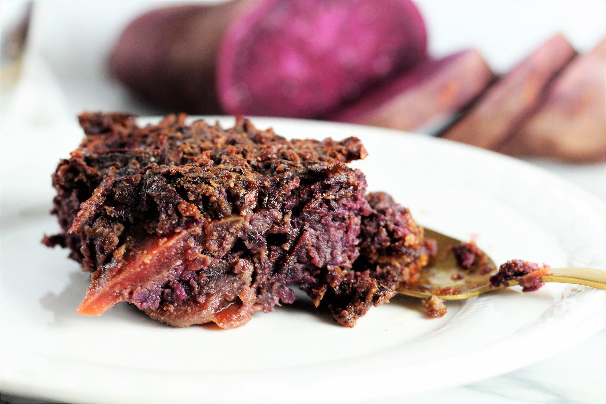 Roasted Purple Sweet Potato and Beet Souffle