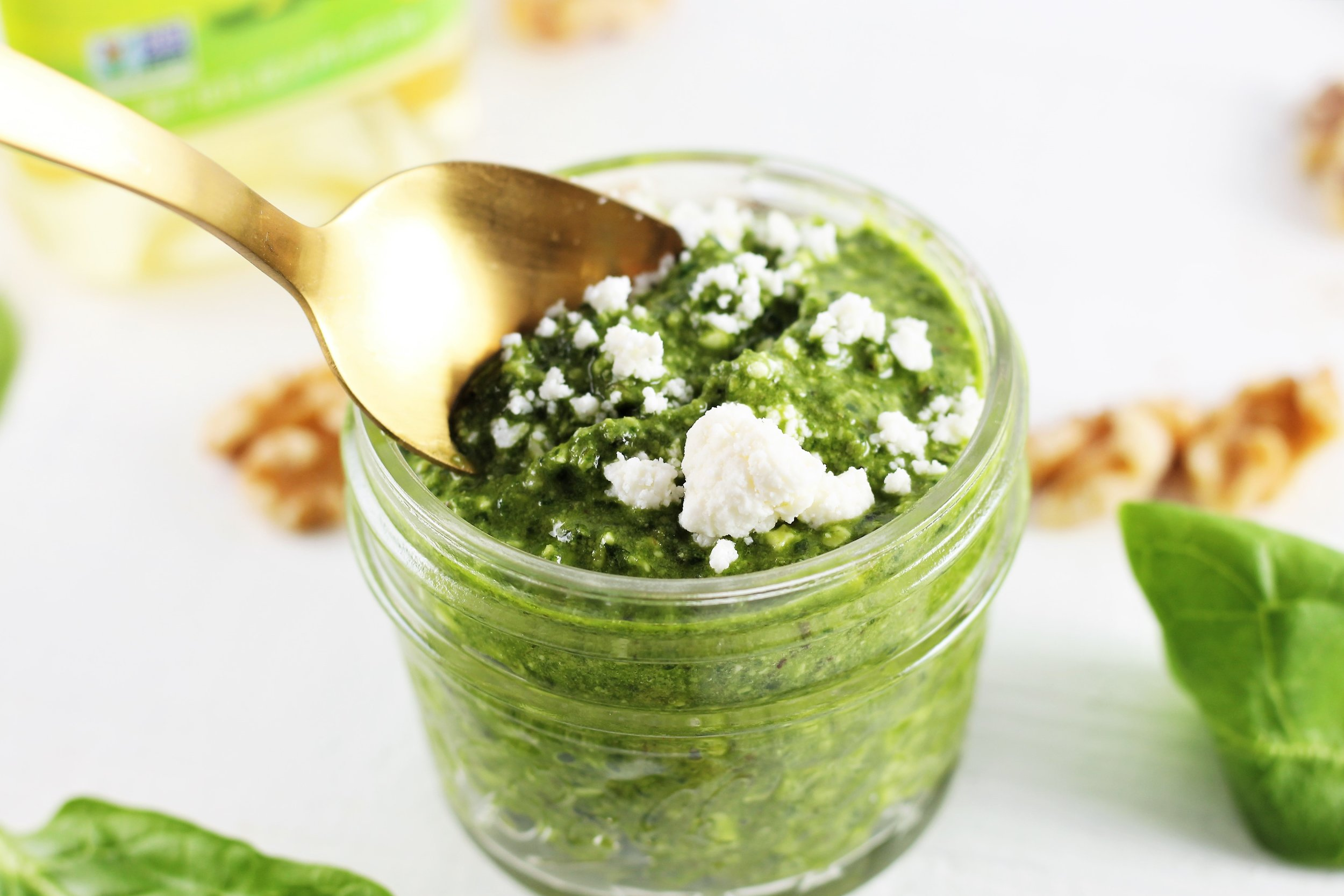 Spinach Walnut and Feta Pesto Sauce