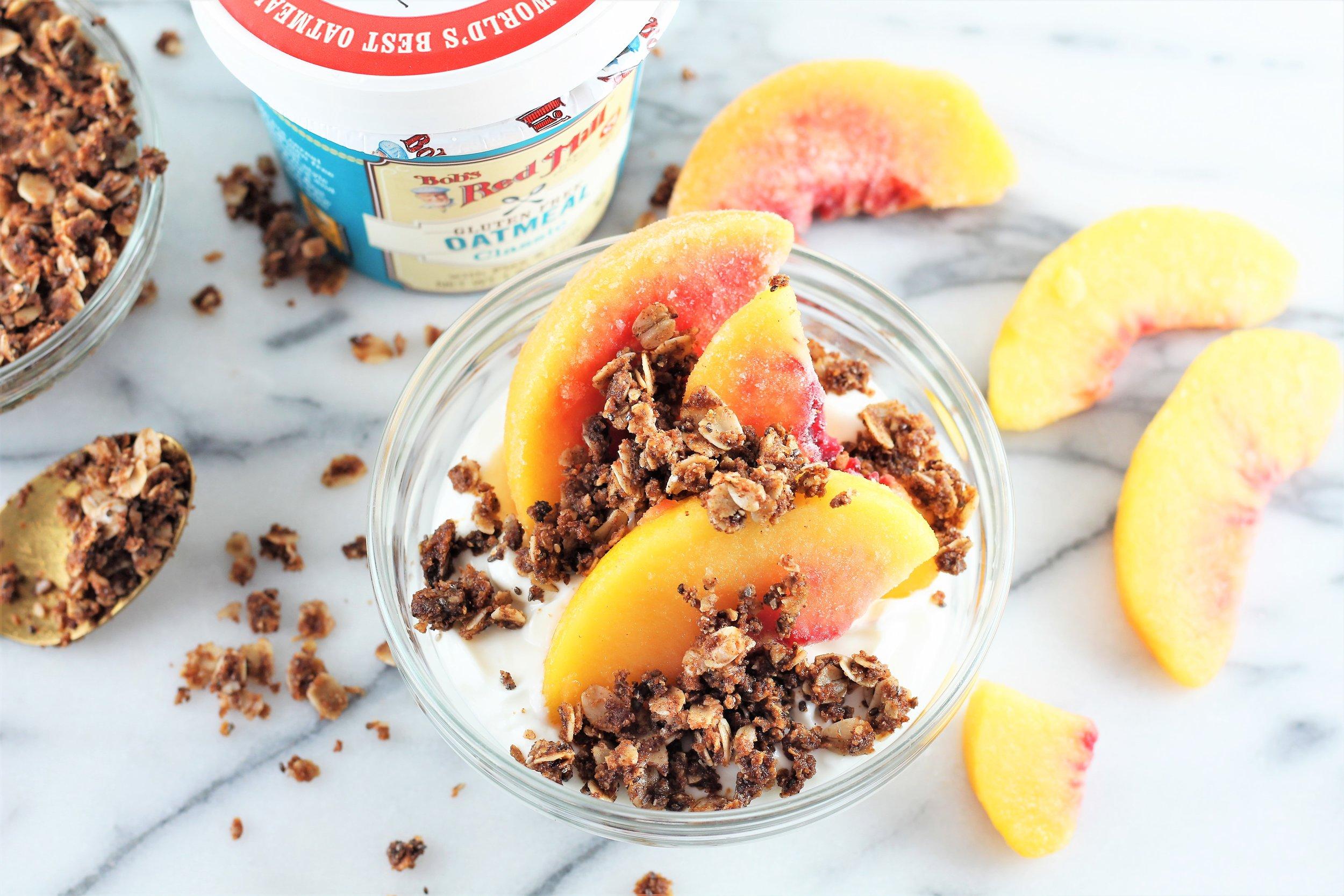 Peaches & Cream with Coconut Chia Oat Crumble
