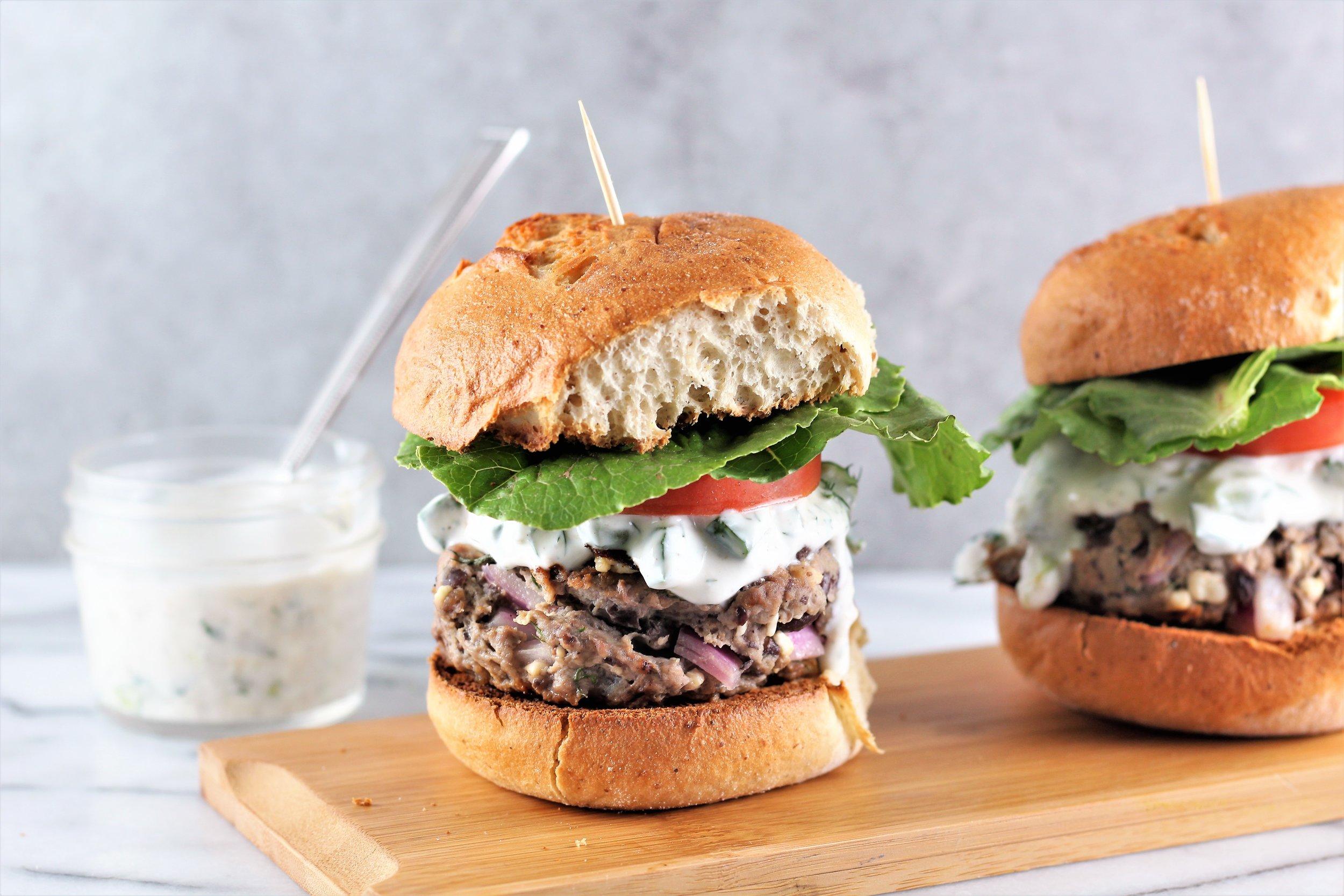 Lamb, Feta, and Black Bean Burgers with Greek Yogurt Tzatziki Sauce