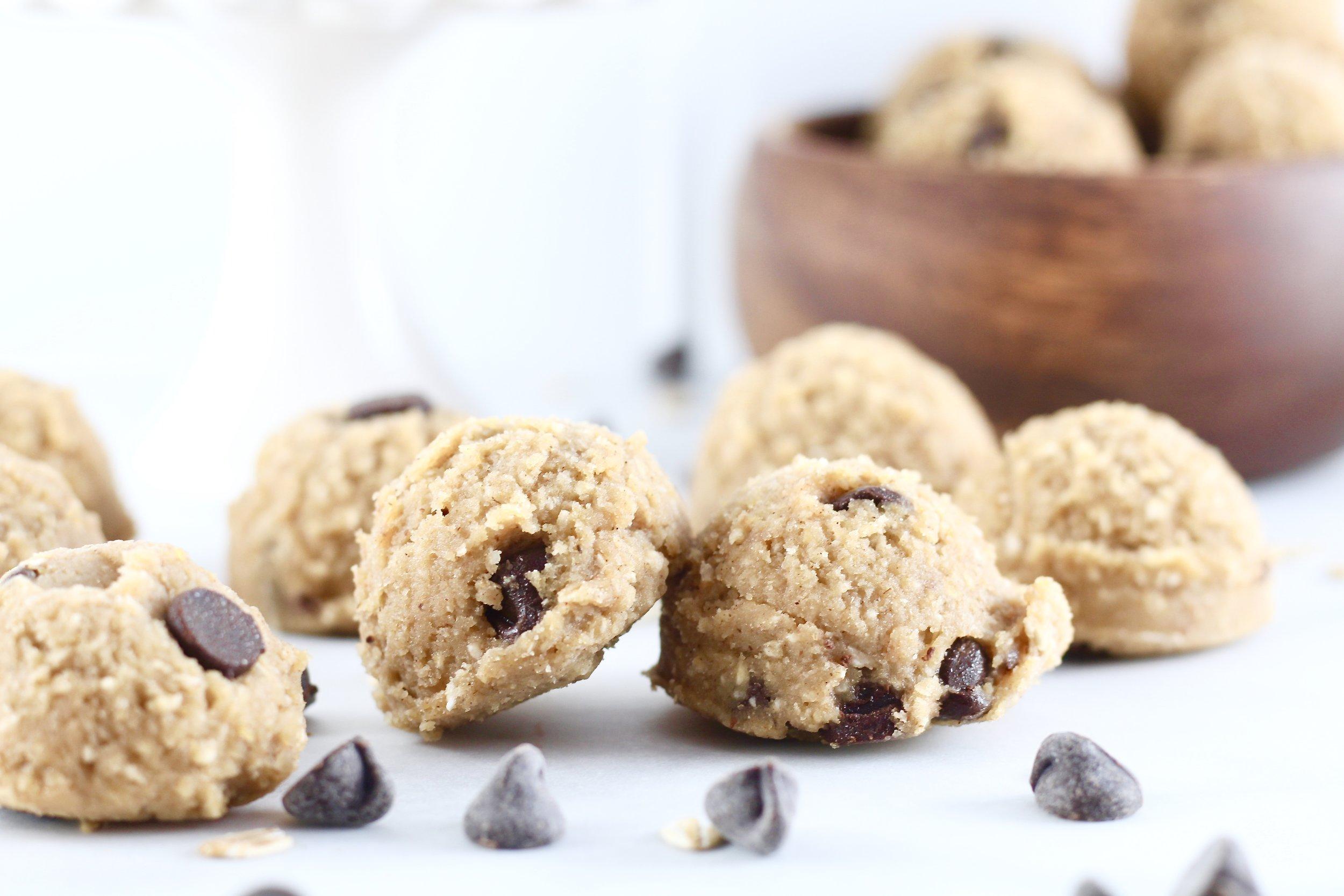 Low Sugar Chocolate Chip Cookie Dough Bites