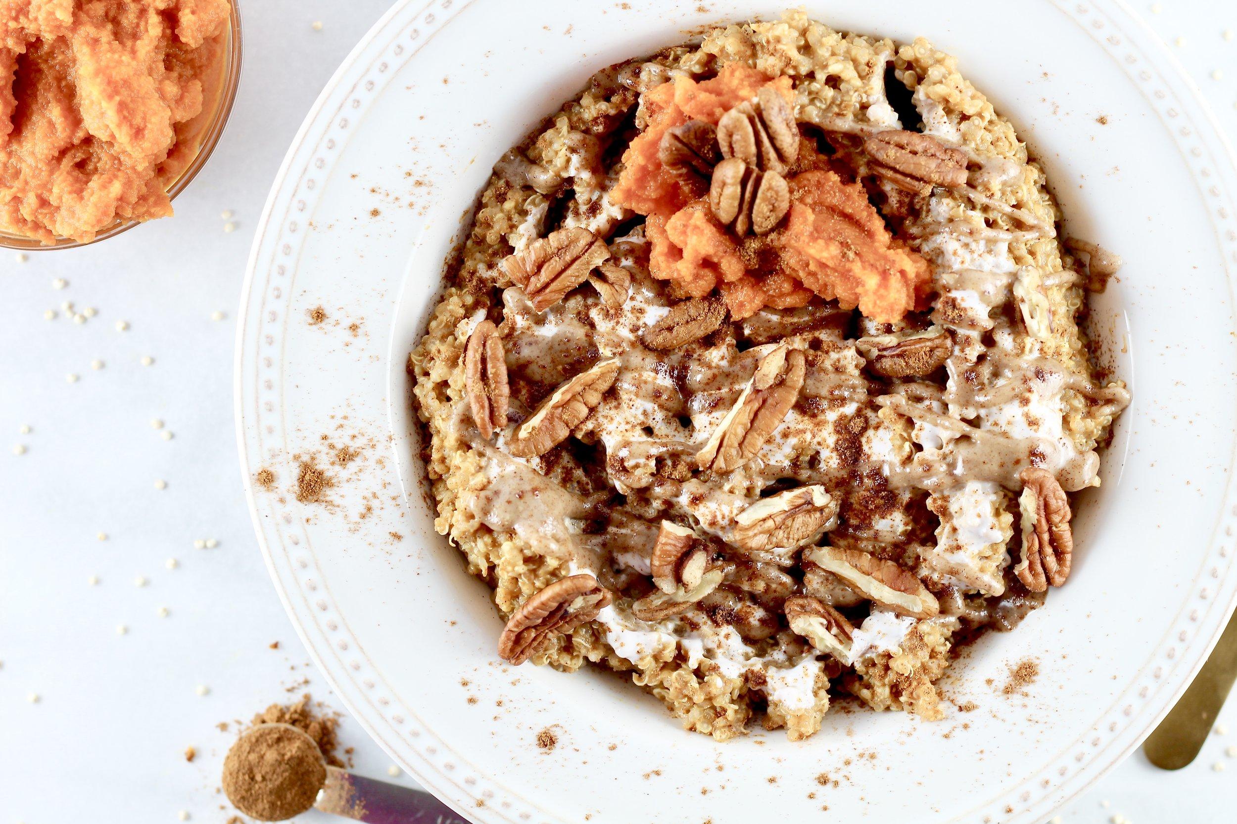 Pumpkin Spice Breakfast Quinoa Bowl