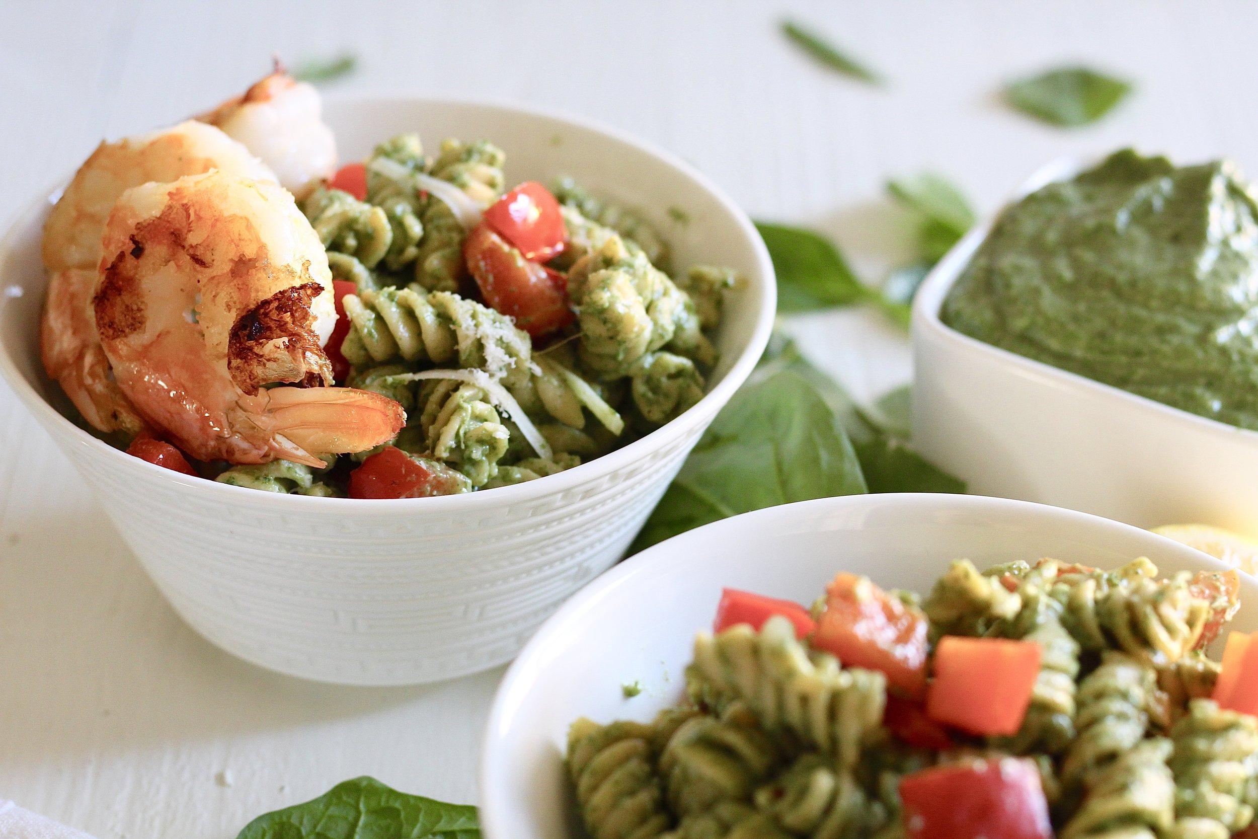 Creamy Spinach Pasta with Shrimp (Gluten Free)