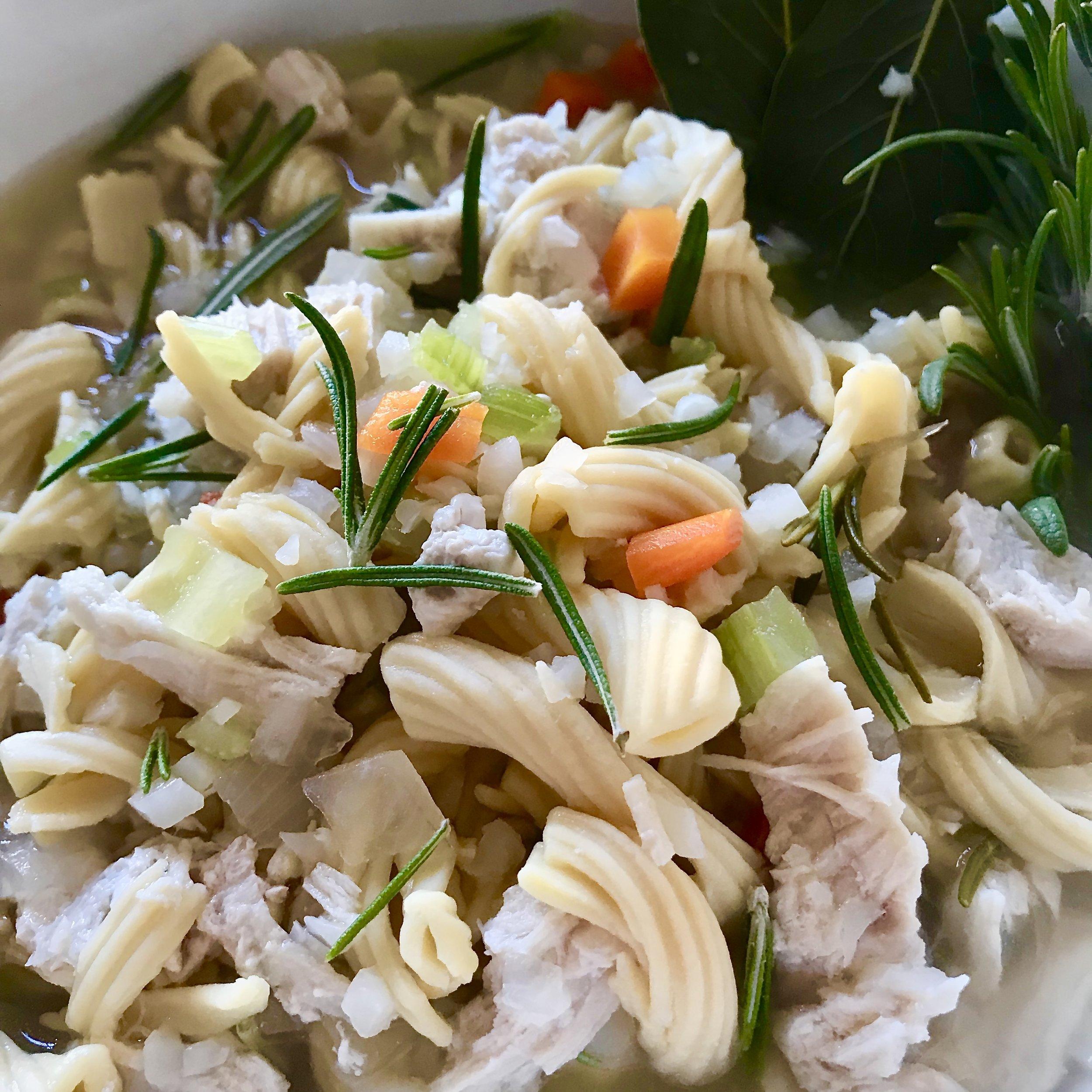 30 minute Chicken Noodle Veggie Soup