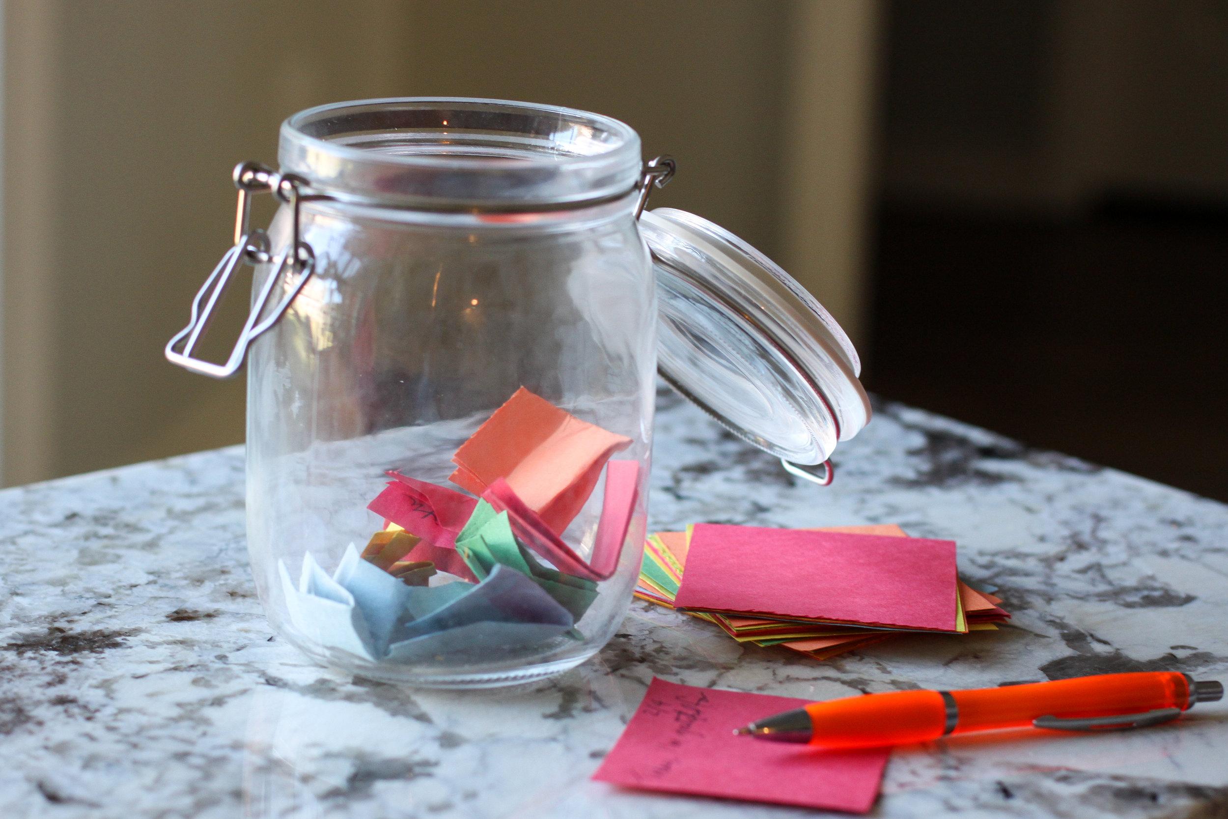 Teaching thankfulness at Valentine's Day with gratitude jars