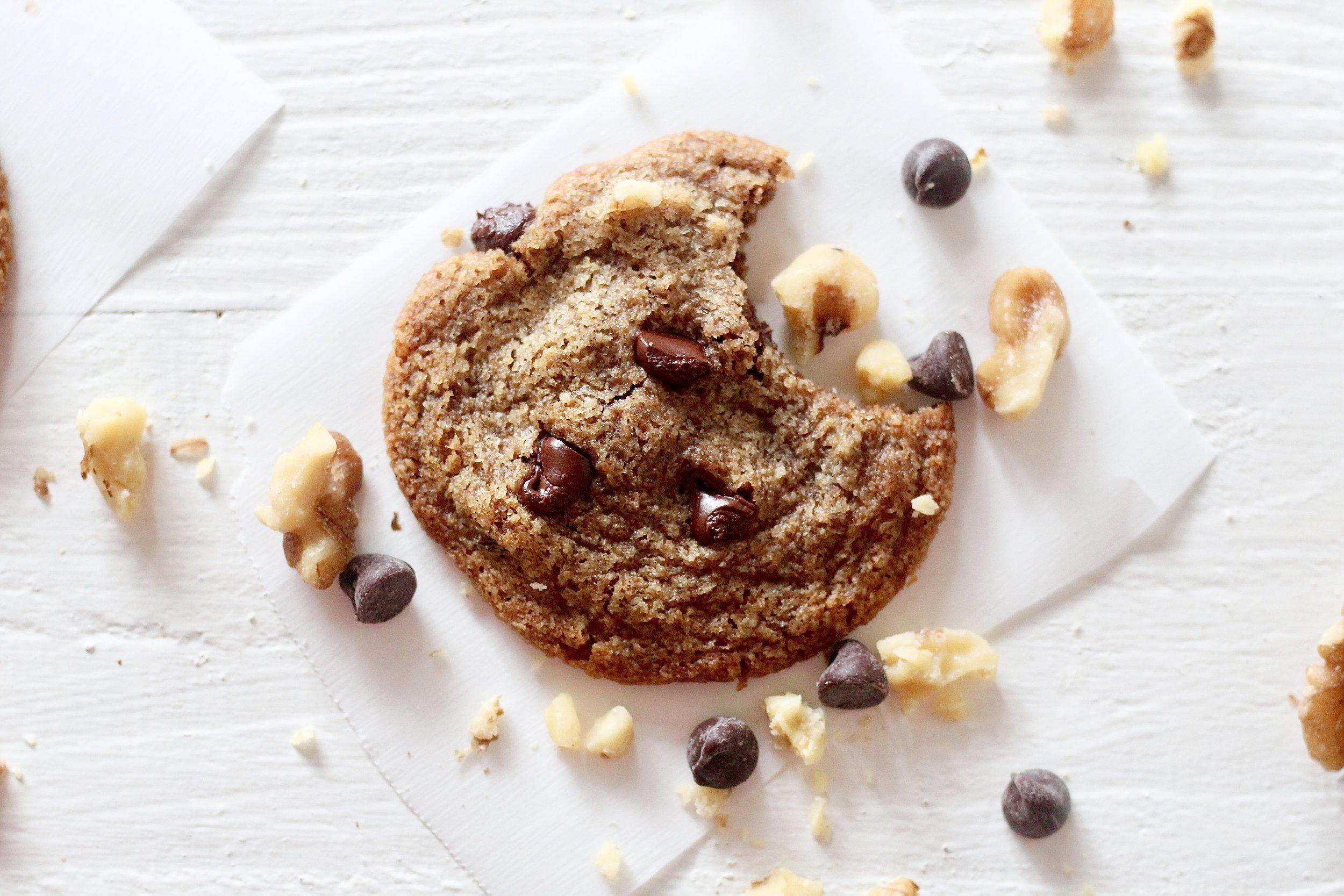 Grain Free Walnut Chocolate Chip Cookies