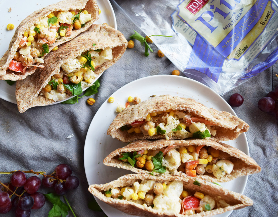Pictured: Roasted Chickpea Cauliflower Pitas by Bucket List Tummy (48 Quick and Easy Meatless Meals for Busy People)