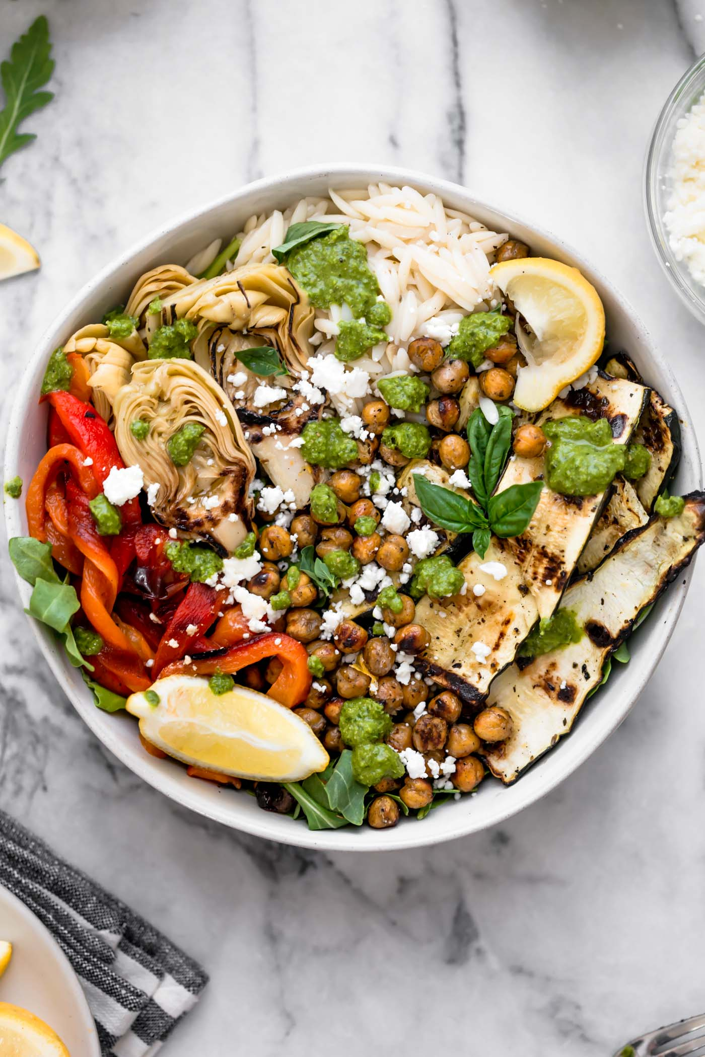 Pictured: Grilled Vegetable Primavera Bowls by Plays Well with Butter (48 Quick and Easy Meatless Meals for Busy People)
