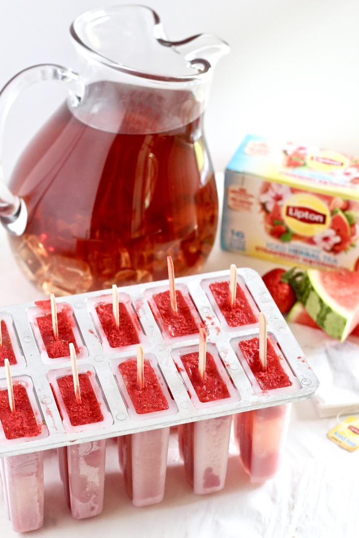 Strawberry Watermelon Iced Tea Pops