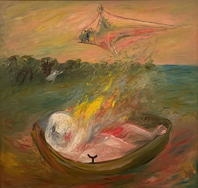 Lovers on fire in boat with kite,  1965. Arthur Boyd 💛🔥
