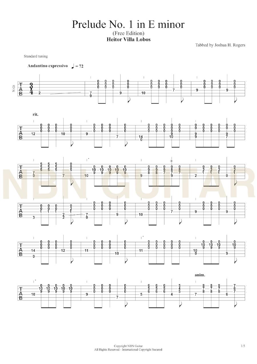 Prelude No  1 in E minor - Free Classical Guitar Tabs — NBN