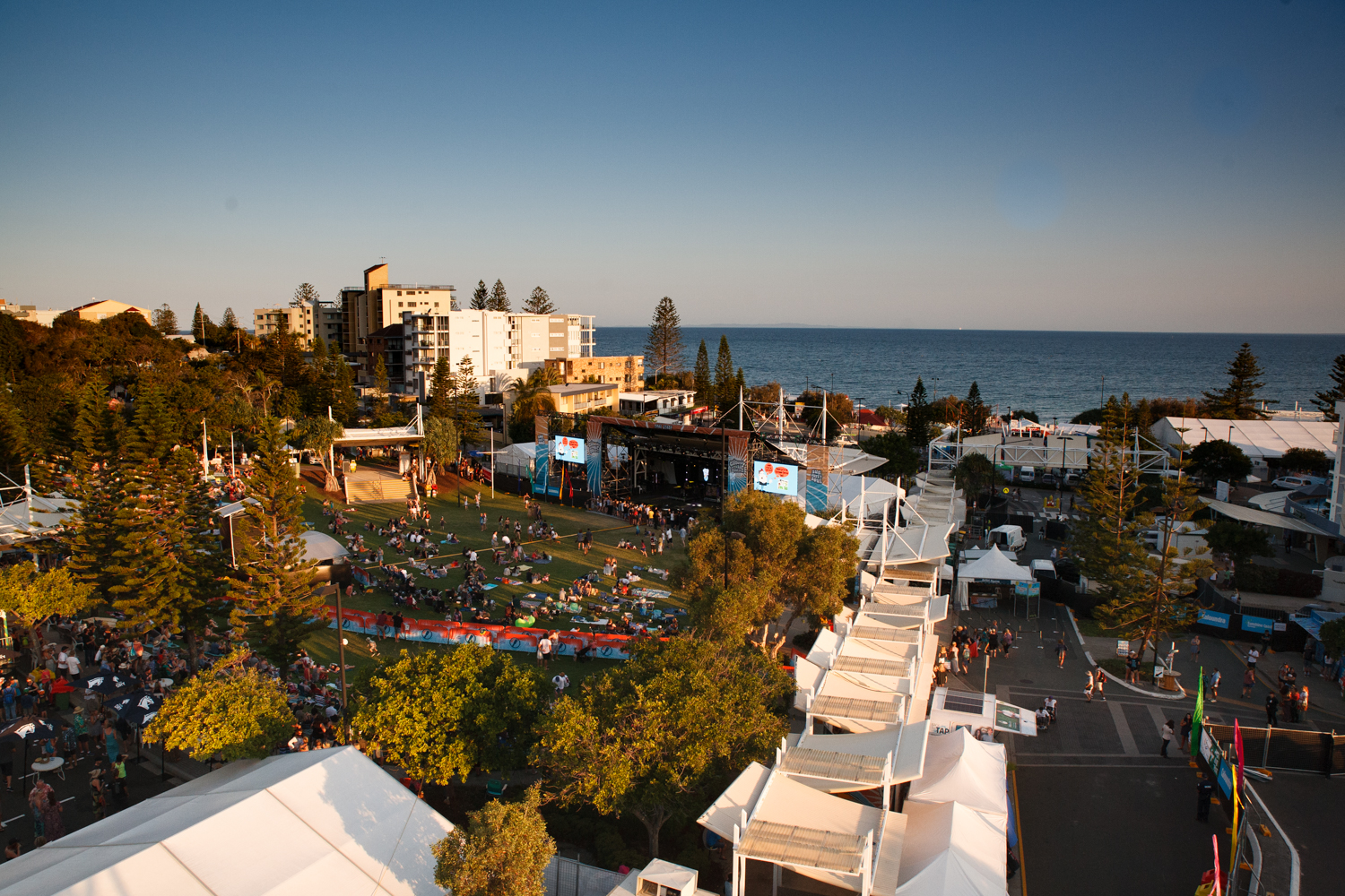 View from above of Caloundra Music Festival site.