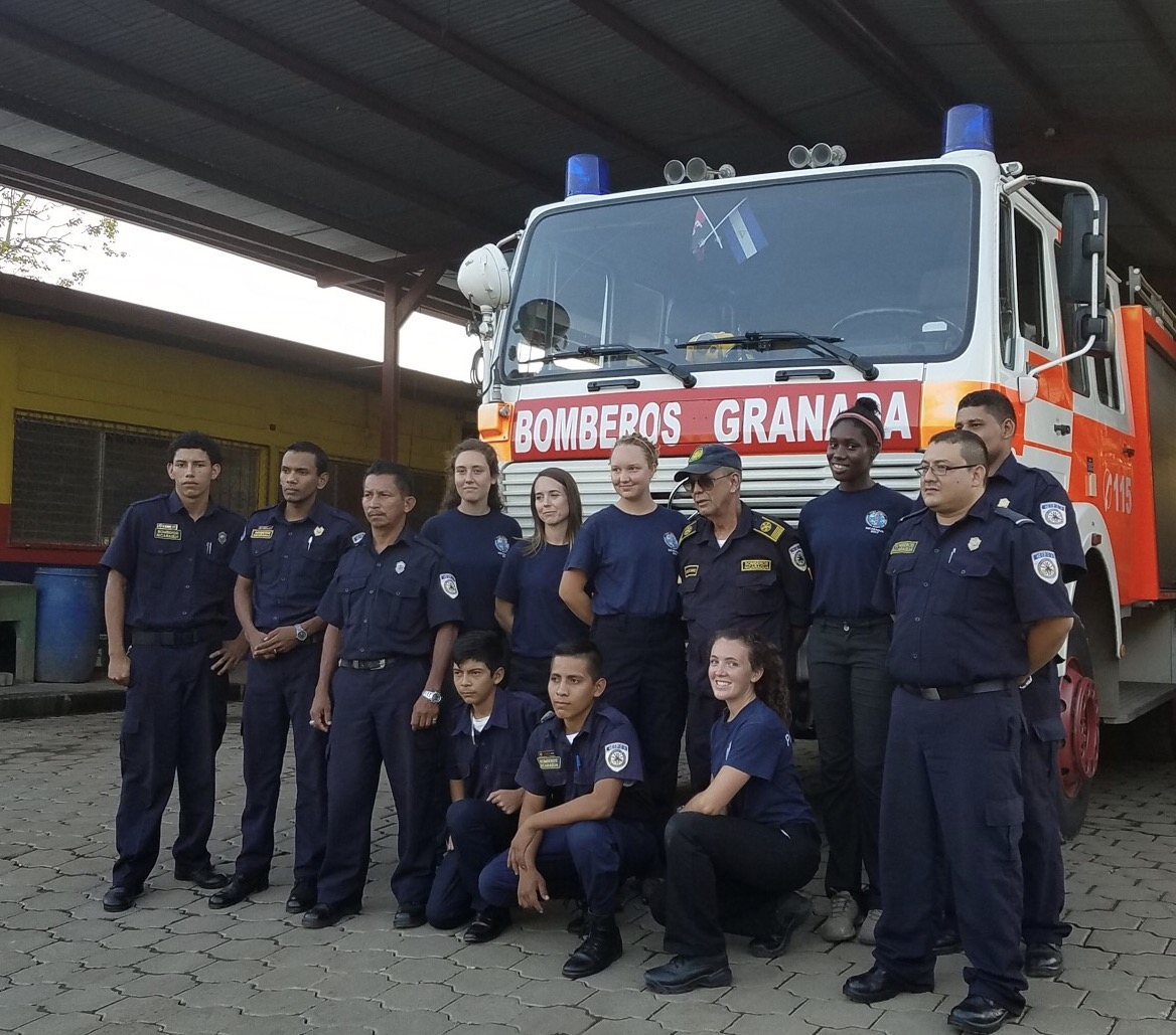 Granada Bomberos and Union College Students.
