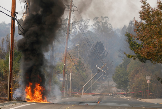 It's a major collapse of a massive utility company, and a frightening concern for homeowners who rely on PG&E for their power - Actual Fire in Napa Valley.