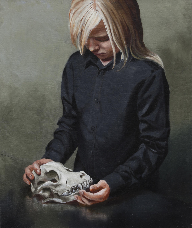 Girl with a pitbull terrier, 2015, Markus Åkesson, 55x46cm, oil on canvas.jpg
