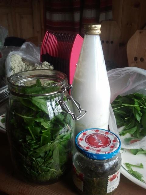 Nå er blader puttet i glass. Hjemmesyrnet kefir på flasken.