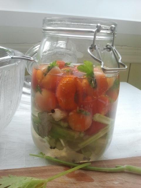 Saltlake tilsettes. Jeg brukte ca 1 1/2 ss. uraffinert havsalt til 1 liter kokt vann. Avkjøles før det helles i glasset.
