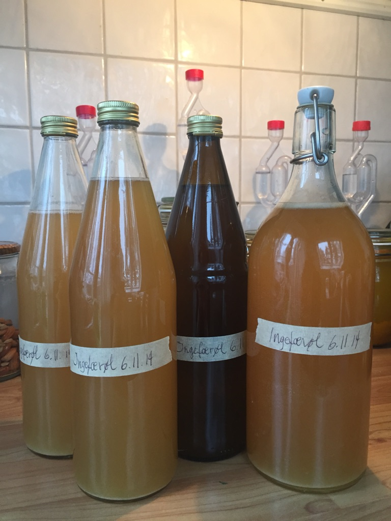 Ingefærøl tappet på flasker :-)