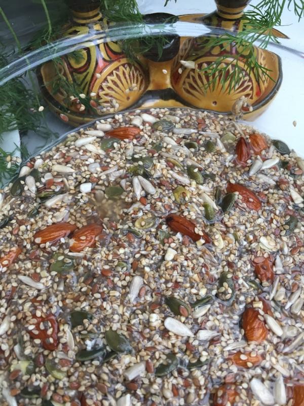 Bentes fermentering. Laken fra fermenterte agurker er nydelig. Den må brukes. Nøtter og frø ligger her i bløt i laken.