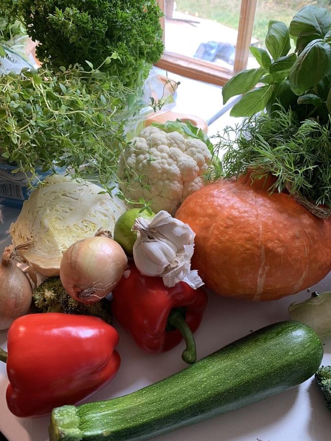 Her er noen av grønnsakene og urtene som skal med i oppskriften. Gresskaret sparer jeg til en annen oppskrift, men jeg syntes det var vakkert i fargekombinasjonen, og derfor fikk det være med på bildet :-)