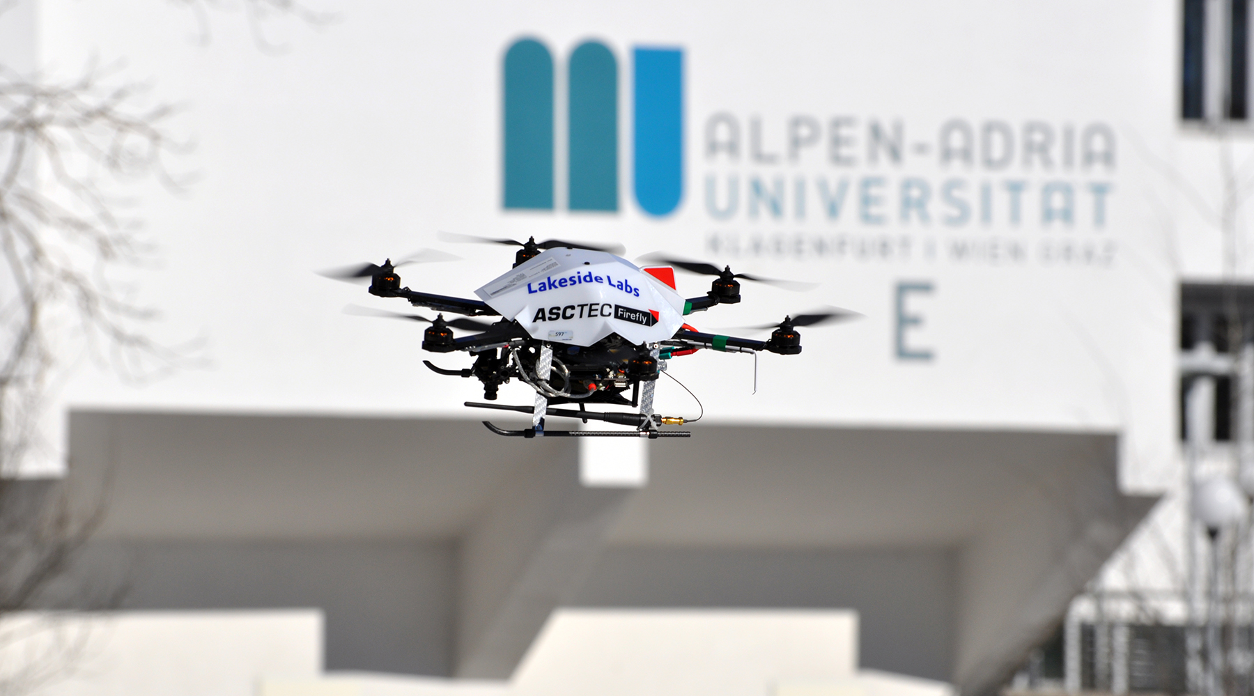Quadcopter flying on campus