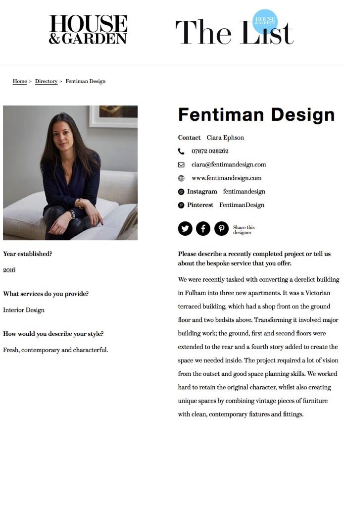 Fentiman Design is on House & Garden, The List