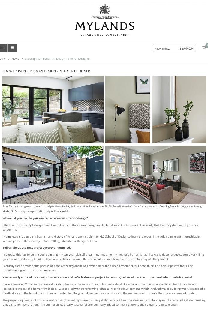 Mylands Blog Featuring Fentiman Design