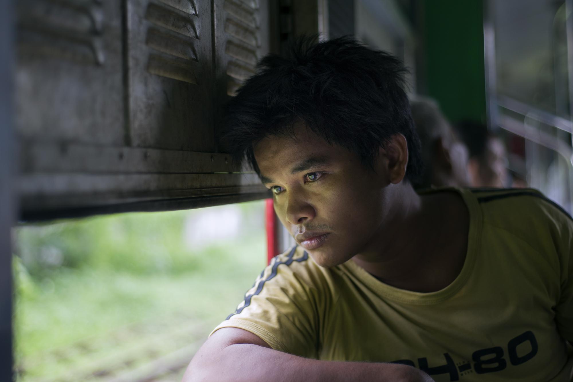 On the train in Yangon