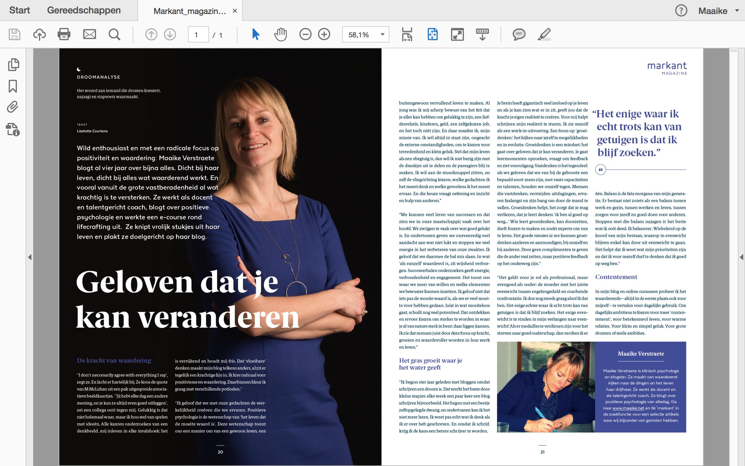 Markant Magazine: interview over dromen koesteren, najagen en stapvoets waarmaken.
