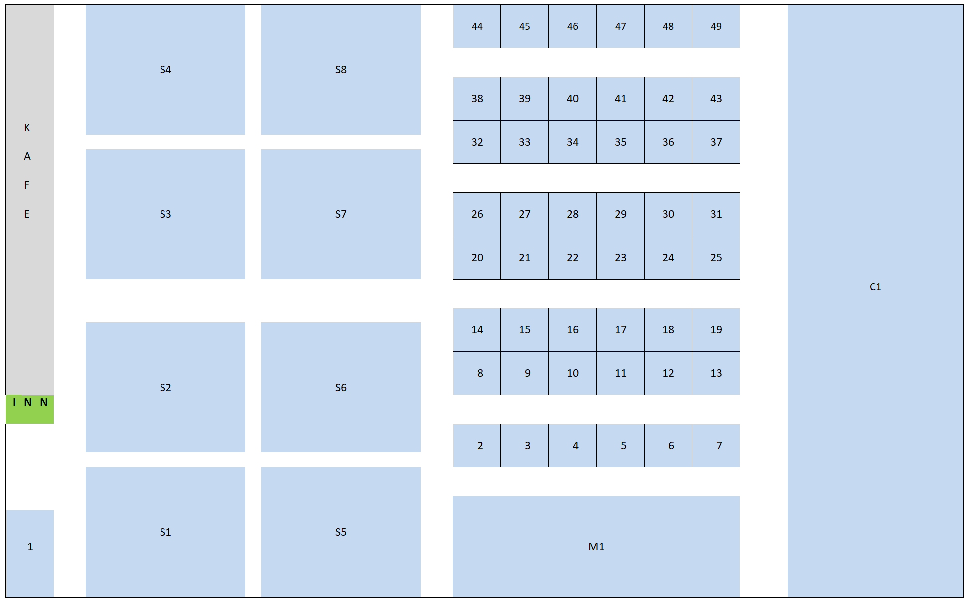 Kart over utstillerplasser i Hålogalandshallen, 27-29 September 2019