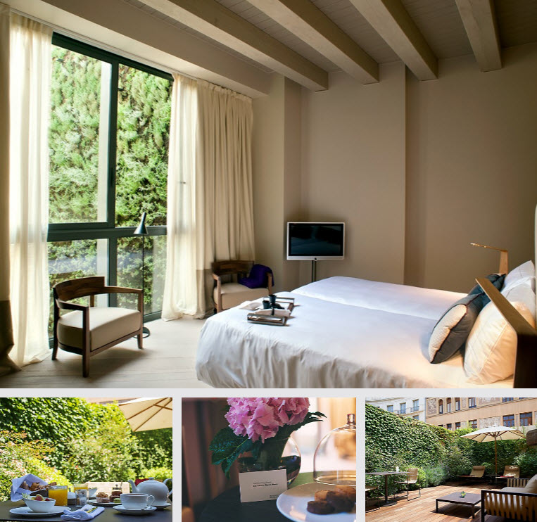 The hotel combines the ancient Roman walls with a modern and contemporary style.