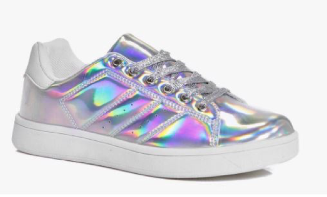 BOOHOO Robyn glitter lace up trainer  £18.00