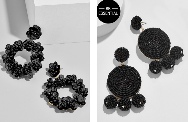 Floretta Sequin Hoop Earrings, $38 dollars; Maraca drop earrings, $34 both Bauble Bar. Available at  https://rstyle.me/~akx7e  and  https://rstyle.me/~akx7A
