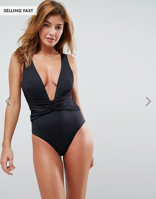 ASOS- BLACK PLUNGE RUCHED FRONT- 20LBS.png